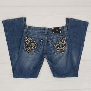 Miss Me Jeans Size 27 Rose Rhinestone Bling Boot